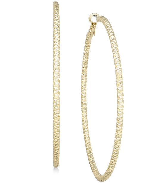 "Thalia Sodi Textured Extra Large 3"" Hoop Earrings, Created for Macy's"