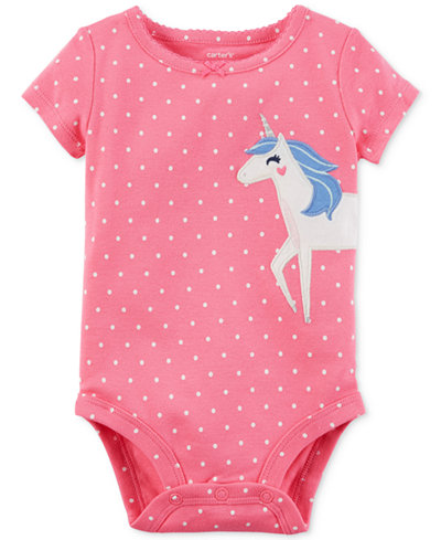 Carter's Dot-Print Unicorn Cotton Bodysuit, Baby Girls