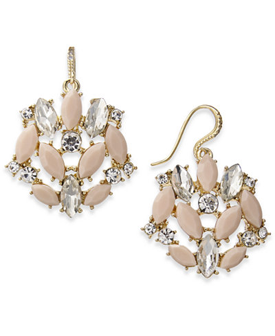 Charter Club Gold-Tone Crystal & Pink Stone Drop Earrings, Created for Macy's