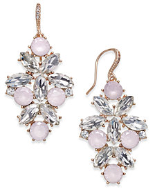 Charter Club Rose Gold-Tone Crystal & Pink Stone Drop Earrings, Created for Macy's