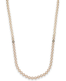 Charter Club Rose Gold-Tone Pavé & Pink Imitation Pearl Strand Necklace, Created for Macy's