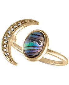 RACHEL Rachel Roy Gold-Tone Pavé Moon & Abalone Stone Ring
