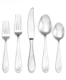Yamazaki Flatware, Platinum Wave 5 Piece Place Setting