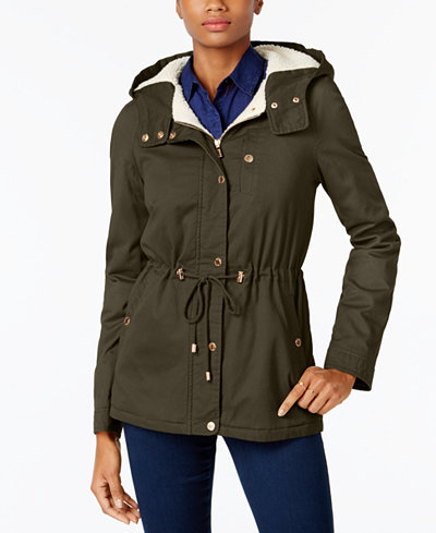Collection B Juniors' Faux-Fur-Lined Anorak, Created for Macy's