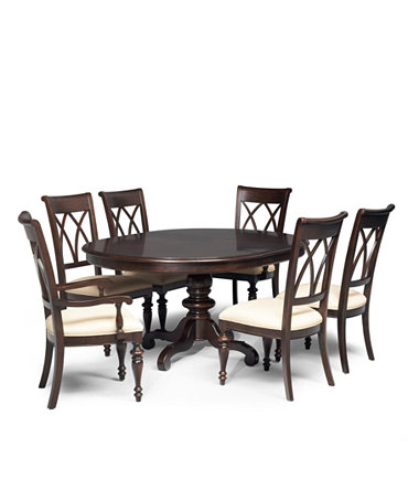 Bradford 7 piece round dining room furniture set for Dining room tables macys