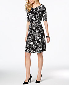 Charter Club Floral-Print Fit & Flare Dress, Created for Macy's