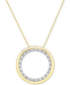Diamond Circle Pendant Necklace (1/4 ct. t.w.) in 14k Gold