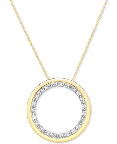 Diamond circle pendant necklace 14 ct tw in 14k gold diamond circle pendant necklace 14 ct tw in 14k gold aloadofball Image collections