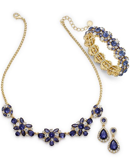 Charter Club Gold-Tone Crystal & Tanzanite Stone Jewelry Collection, Created for Macy's
