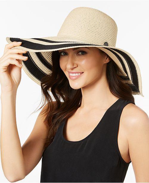 0f9f585a62b15 Vince Camuto Ribbon-Stripe Floppy Hat & Reviews - Handbags ...
