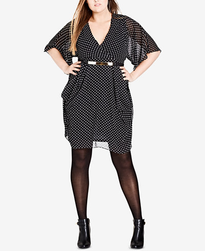 City Chic Trendy Plus Size Belted Faux-Wrap Dress