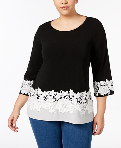 Charter Club Plus Size Lace-Trim Colorblocked Top, Created for Macy's