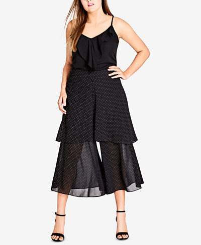 City Chic Trendy Plus Size Tiered Wide-Leg Pants