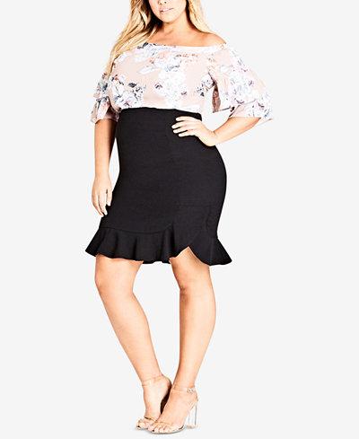 City Chic Trendy Plus Size Ruffled Bodycon Skirt