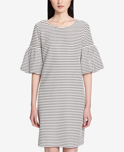 Calvin Klein Printed Puff-Sleeve Shift Dress