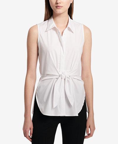 Calvin Klein Tie-Front Sleeveless Blouse