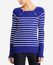 Lauren Ralph Lauren Crest-Button Striped Sweater