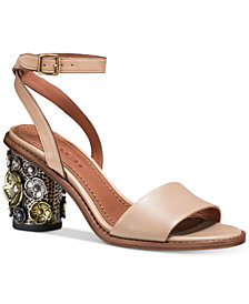 COACH LINK LEATHER AND SUEDE DRESS SANDALS cacXdQMOLX