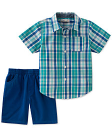 Kids Headquarters 2-Pc. Plaid Shirt & Shorts Set, Baby Boys
