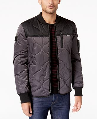 Members Only Mens Colorblocked Quilted Bomber Jacket Coats