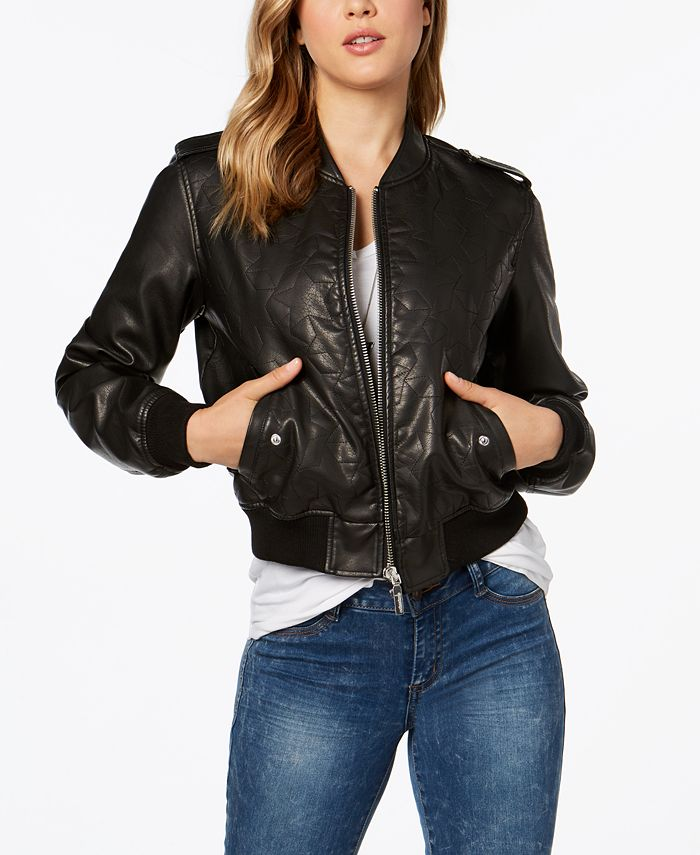 Collection B - Faux-Leather Star-Stitch Bomber Jacket