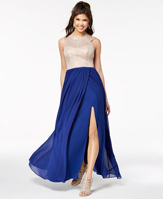Say Yes To The Prom Juniors Embellished Contrast Slit Skirt Gown