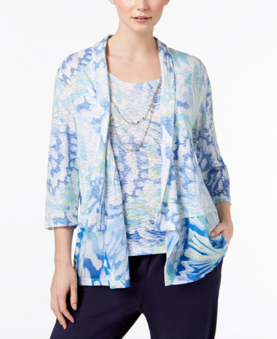 Alfred Dunner Petite Bonita Spring Layered-Look Top with Removable Necklace
