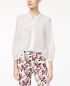 Marella Silk Blend Semi-Sheer Tie-Neck Blouse
