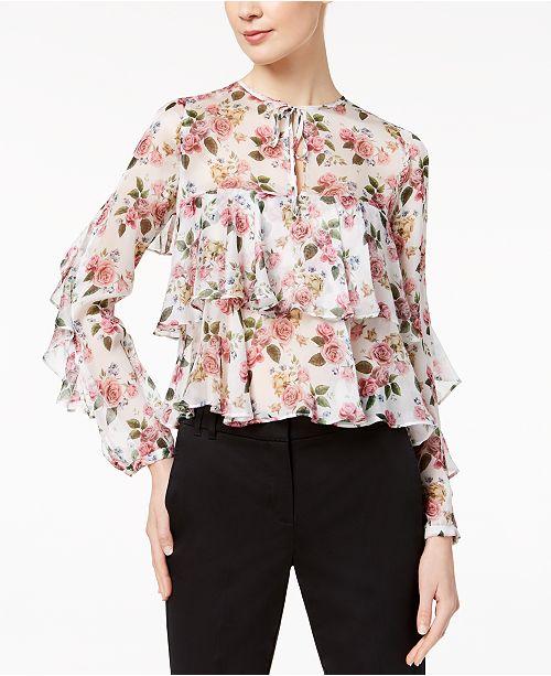 dc283c8be8016 Marella Silk Tiered Ruffle Top   Reviews - Tops - Women - Macy s