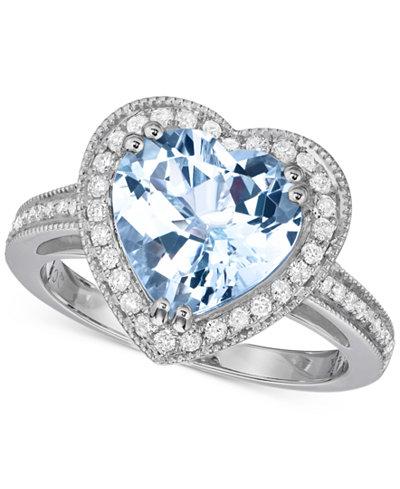 Aquamarine (2-3/4 ct. t.w.) & Diamond (1/3 ct. t.w.) Heart Ring in 14k White Gold