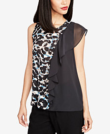 RACHEL Rachel Roy Printed Colorblocked Ruffle Tank Top, Created for Macy's