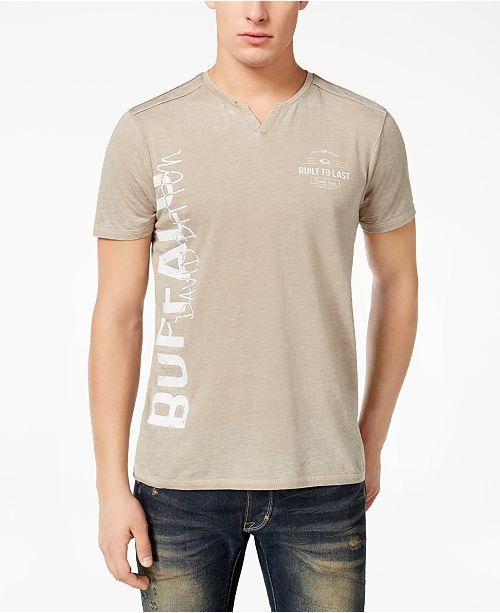 Buffalo David Bitton Men's Nadami Logo-Print Split-Neck T-Shirt