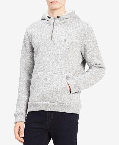 Calvin Klein Jeans Men's Bonded Quarter-Zip Sweatshirt with Fleece-Lined Hood