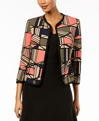 3/4 Sleeve Patterned Jacket Kasper