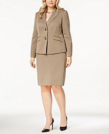 Le Suit Plus Size Melange Two-Button Skirt Suit
