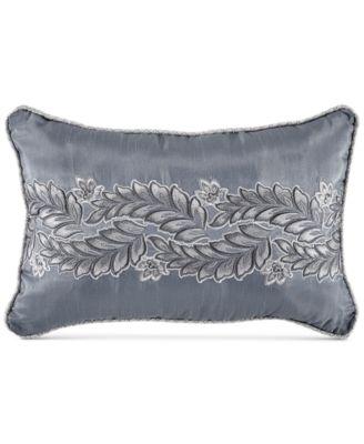 "Seren Chenille Damask Jacquard 18"" x 12"" Boudoir Decorative Pillow"