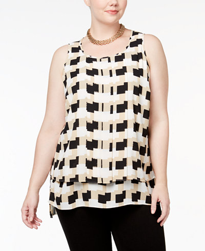 Alfani Plus Size Printed Pleated Top, Created for Macy's