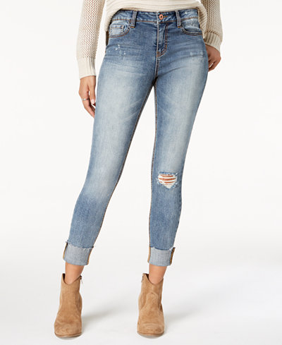 American Rag Juniors' Ripped Cuffed Skinny Jeans, Created for Macy's