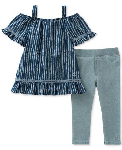 Calvin Klein 2-Pc. Off-The-Shoulder Tunic & Leggings Set, Little Girls