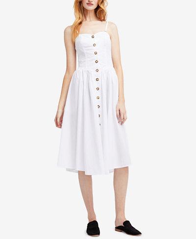 Free People Perfect Peach Cotton Poplin Midi Dress