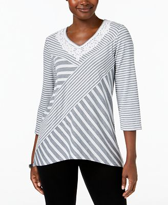 Alfred Dunner Lakeshore Drive Embroidered Top