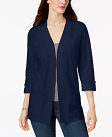 Karen Scott Petite Cotton 3/4-Sleeve Cardigan, Created for Macy's