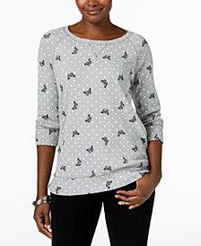 Karen Scott Mixed-Print 3/4-Sleeve Sweatshirt, Created for Macy's