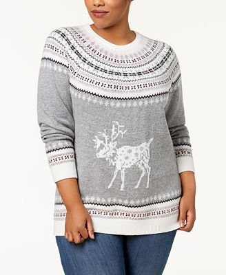 Tommy Hilfiger Plus Size Fair Isle Deer-Print Sweater, Created for ...