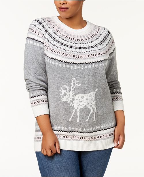 852a946371a ... Tommy Hilfiger Plus Size Fair Isle Deer-Print Sweater