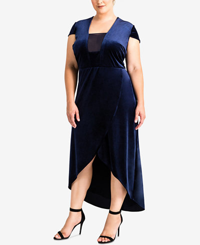 Standards and Practices Trendy Plus Size Velvet High-Low Dress