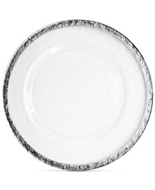 Jay Imports Hammered Ice Glass Charger Plate With Silver-Tone Band