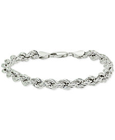 Giani Bernini Rope Chain Bracelet in Sterling Silver, Created for Macy's