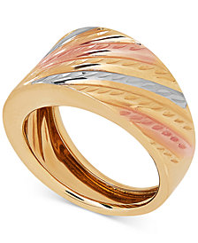 Tri-Color Statement Ring in 14k Gold & White and Rose Rhodium-Plate