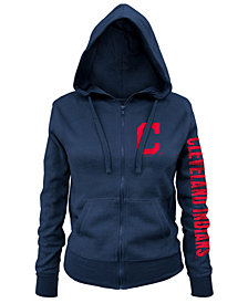 5th & Ocean Women's Cleveland Indians Glitter Hooded Full-Zip Sweatshirt